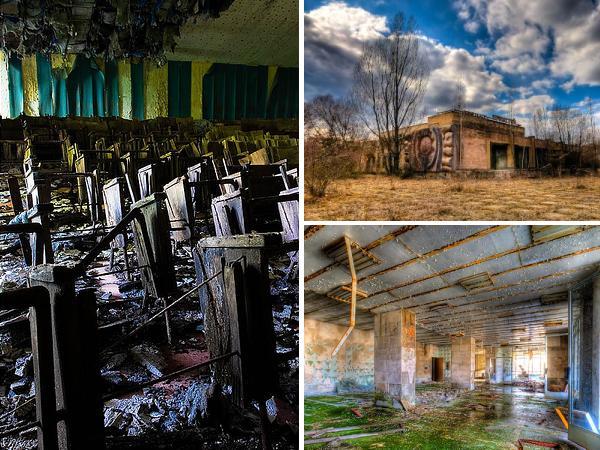 Бывший кинотеатр в городе Припять, Украина.